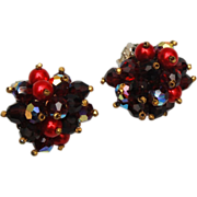 Alice Caviness Red Beaded Earrings