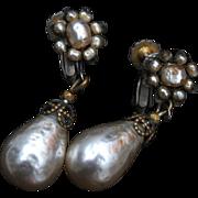 SALE Miriam Haskell Pearl Earrings