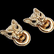 SALE Wonderful vintage Rhinestone Cougar Earrings
