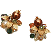 SALE Alice Caviness Pearl, Crystal and Art Glass Earrings
