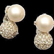 SALE Faux Pearl and Rhinestone In Rhodium Setting Earrings