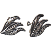 SALE Sterling Leaf Earrings