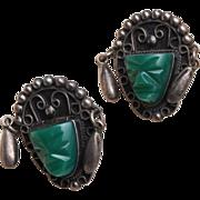 SALE Silver Mexico Green Face Earrings