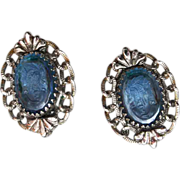 SALE Whiting and Davis Blue Glass Cameo Earrings