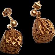 Gold Tone Filigree Pierced Earrings