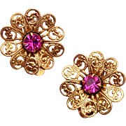 SALE Lisner Filigree and Pink Rhinestone Earrings