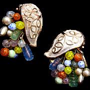 SALE Fabulous Kramer Colorful Art Glass Earrings