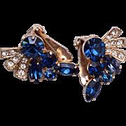 SALE Blue Rhinestone Earrings