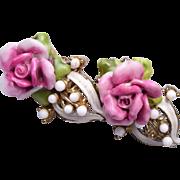 SALE Coro Pink Porcelain Rose Earrings