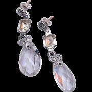 SALE Crystal and Rhinestone Pierced Dangling Earrings