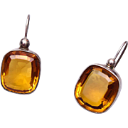 SALE Topaz Colored Faceted Crystal Pierced Earrings