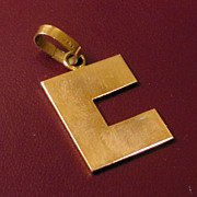 SALE 14K Gold Charm in the Form of a C