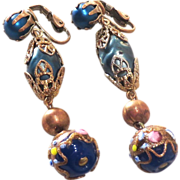 SALE Venetian Glass Dangling Earrings - Blue