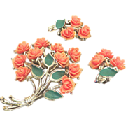 SALE JJ Floral Celluloid Set of Brooch and Earrings