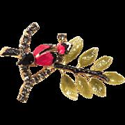 SALE Hobe Figural Bird Enamel & Rhinestone Brooch - 1966