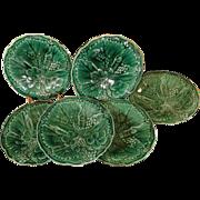 """SALE Antique English Majolica Plates 8"""", Greenware Grape & Strawberry Pattern, C 1870"""