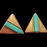 SALE 14K Gold Custom Pierced Earrings with Turquoise Blue Stripe