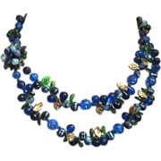 SALE Blues Molded Plastic and Art Glass Floral 2-Strand Necklace