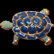 SALE Ciner Enamel Turtle Figural Brooch in Blue