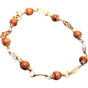 SALE Goldstone and Gold Fill Bracelet
