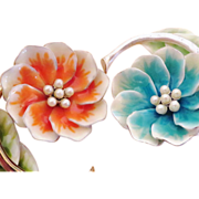 SALE Vintage Pair of Enamel Floral Brooches - Liz Claiborne