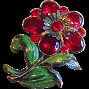 SALE Fabulous Pot Metal Enamel Rhinestone Floral Brooch
