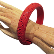 SALE Chinese Cinnabar Bangle Bracelet - Mid Century or Earlier