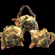 SALE Vintage Japanese Oribe Art Pottery Tea Set