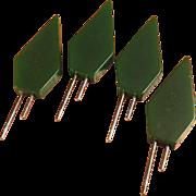 SALE Set of 4 Green Bakelite Corn Holders