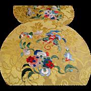 SALE Pair Antique Chinese Silk Embroidered Roundels, Forbidden Stitch
