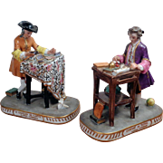 SALE Antique Pair of Figurines, PORCELAINE DE PARIS - BOURDOIS & BLOCH - ACHILLE BLOCH