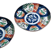 SALE Pair Antique Japanese Imari dishes, Meiji Period