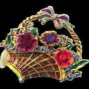 SALE Coro Craft Sterling Enamel Flower Basket Brooch - 1940's