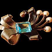 SALE Lampl Sterling Aquamarine Colored Stone Brooch - Huge