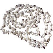 SALE Fresh Water Pearl and Crystal Necklace, Sterling Clasp - 36""