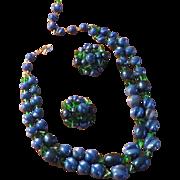 SALE Schiaparelli Blue and Green Necklace Earrings Set 1949-1955