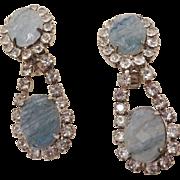 SALE Unusual Kenneth Lane Lava Glass and Rhinestone Earrings