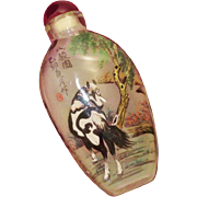 SALE Chinese Reverse Painted Snuff Bottle - Horses