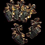 SALE Set African Drummers Figural Brooch & Pierced Earrings