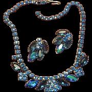 Pretty Blue Necklace Earrings Set