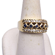 SALE 14kt Gold, Diamond and Sapphire Ring 8-1/4