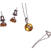 SALE 14kt Gold and Topaz Colored Stone Necklace and Pierced Earrings