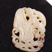 SALE Agate Charm or Pendant With Lotus Leaf and Lotus Blossom Carving