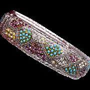 Sarah Coventry Hinged Rhinestone and Turquoise Bracelet