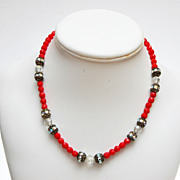 SALE Red Glass and Filigree and Rhinestone Beaded Necklace
