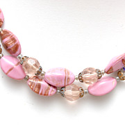 SALE Pink Venetian Beaded 2 Strand Necklace