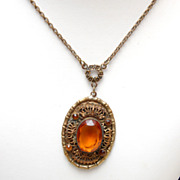 SALE Necklace With Filigree and Faceted Topaz Unfoiled Stones
