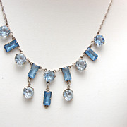 SALE Sterling and Bezel Set Blue Unfoiled Crystal Necklace