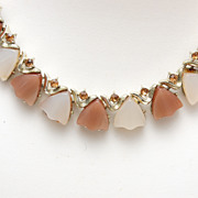 SALE Coro Thermoset Necklace in Light Brown and Cream