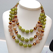 Beautiful Hobe' 3-Strand Lucite and Glass Necklace